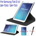 "Luxo Ficar PU Couro 360 Graus de Giro Capa para Samsung Galaxy Tab 9.6 ""T560 T561 Tablet Case + Protetor Free Screen + Caneta"