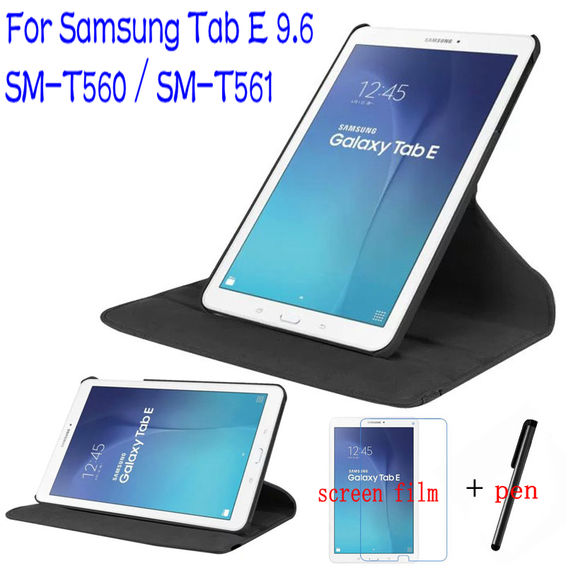 Luxury Stand PU Leather 360 Degree Rotating Cover for Samsung Galaxy Tab E 9.6 T560 T561 Tablet Case+Free Screen Protector+ Pen
