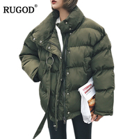 RUGOD Winter Jacket Women Plus Size Womens Parkas Thicken Outerwear Solid Mandarin Collar Coats Short Female