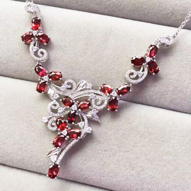 Natural garnet permata batu pernikahan kalung 925 sterling silver - Perhiasan bagus - Foto 5