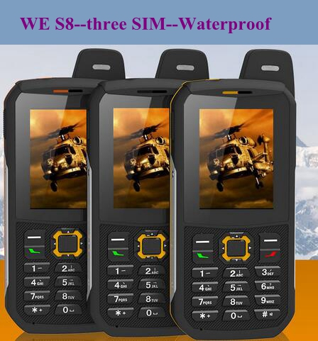 Original Waterproof phone WE S8 Power Bank GSM Senior old man IP68 Rugged shockproof cell three sim sonim H6 DG22 a12 X1 X6 xp6