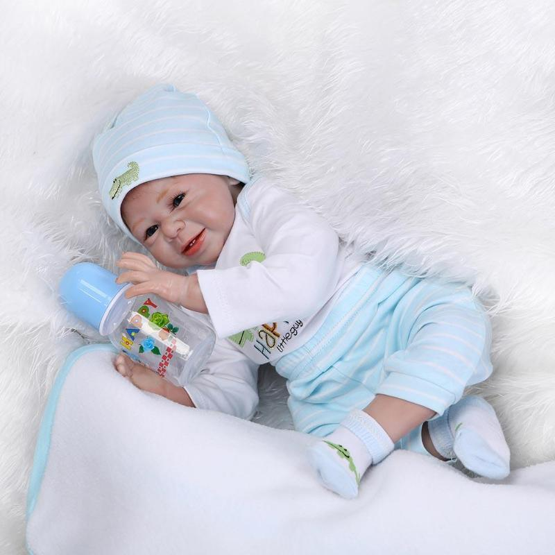 Simulation 55cm Reborn Doll Soft Silicone Girl Pretend Play Doll <font><b>Princess</b></font> <font><b>Toddler</b></font> Babies Bathe Play House Toy Baby Girls Gifts image