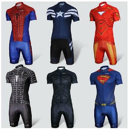Customize Cool Superhero Cycling Wear Iron Man Batman Superman Cycling Jersey Short Sleeve Bike Clothing Quick Dry Ropa Ciclismo
