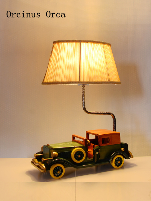 Cartoon Creative Retro vintage Classic Car desk Lamp Boys Bedroom Children's Room Lamp American Individual LED Car table Lamp