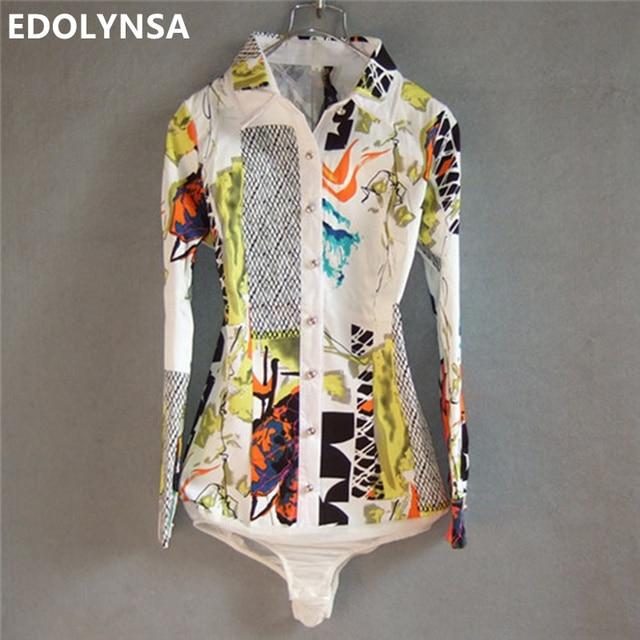 women shirt blouse print cotton bodysuit long sleeve formal shirts