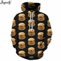 Joyonly Women Men 3D Hoodies Gold Color Food Hamburger Printed Sweatshirt 2017 Autumn Hooded Hoodie With Pocket Hat Hoody Tops