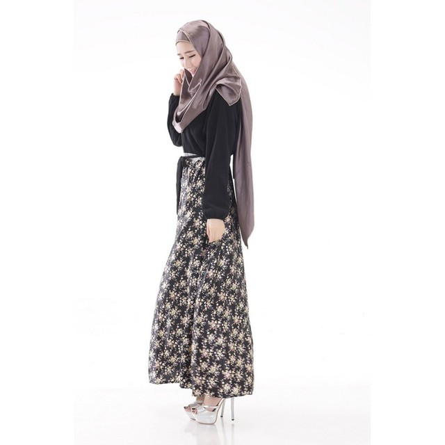 New Women Long Sleeve Full Length Muslim Kaftan Islamic Floral Maxi Dress Arab Jilbab Wear