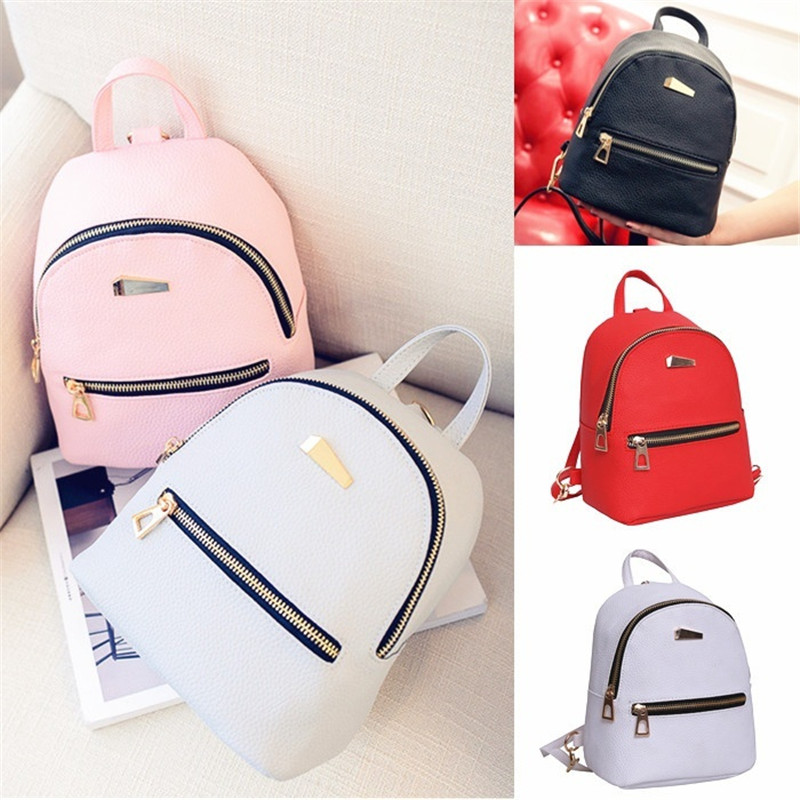 New Fashion Women Leather Backpacks Travel Rucksack School Bag High Quality
