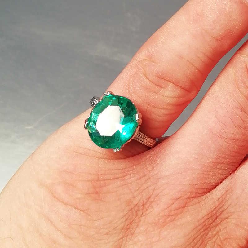 สีเงินใหม่แหวนแฟชั่นสีเขียวรูปไข่ขนาดใหญ่ Zircon แหวนสไตล์เรียบง่ายสีเขียวแหวนหินเครื่องประดับ Anillos Mujer z5X717