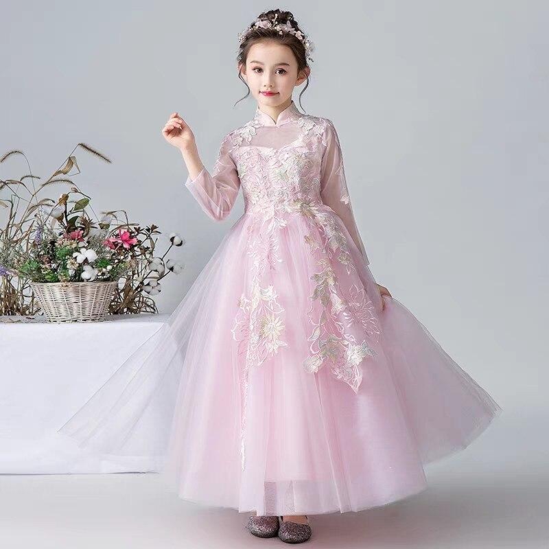 2019 printemps nouveaux adolescents enfants douce couleur rose fête licorne princesse robe enfants anniversaire mariage fête vêtements robe 5-11 T