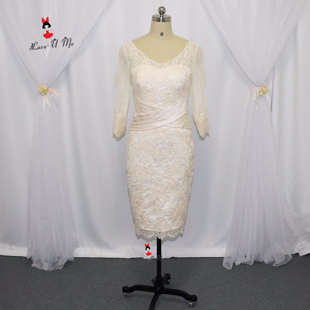 2017 Champagne Mother Of The Groom Bride Lace Dresses Knee
