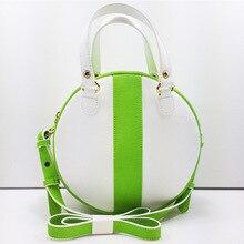 2016 Famous Brand Designer Bowknot Shoulder Messenger Bags Green White Crossbody Bag for Women Fashion Circular Leather Handbags
