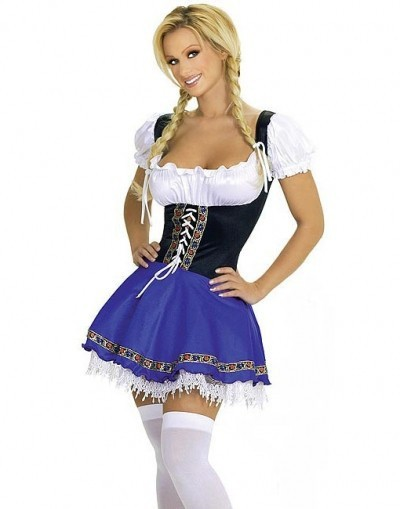 FREE SHIPPING S-XL 2055 Oktoberfest Costume Fancy Dress Up German Heidi Dirdnl Leiderhosen Beer Maid