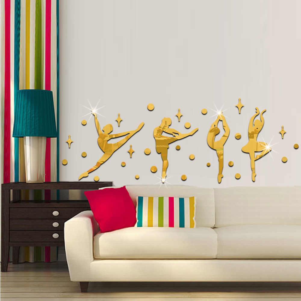 34 Pcs/Set 3D Acrylic Cermin Permukaan Dinding Stiker Balet Tari Gadis Desain untuk Tari Tk room Dinding Dekorasi 60067