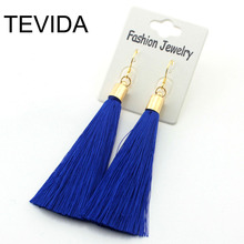 Gold Silver Earrings Silk Tassel Earrings Long Drop Earrings for Women Wedding Party Jewelry Earring Accessories