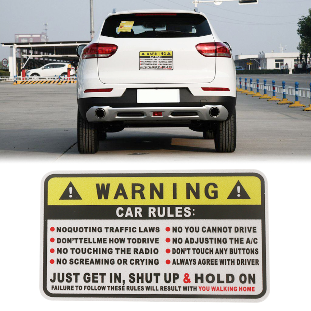 2Pcs Vehicle Rules Funny Car Sticker Truck Window Decal Safety Warning Auto Nice