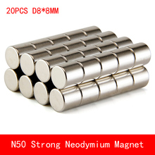 wholesale 20PCS D8*8mm round N50 Strong magnetic force rare earth Neodymium magnet diameter 8X8MM