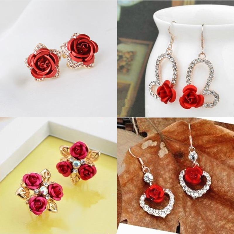 Hot Fashion Charming Trendy Cute Red Rose Wedding Earrings Crystal Rose Flower Earrings Pentagram Stud Earrings Party Jewelry