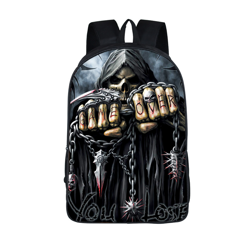 Cool Death Skull Backpack For Teenagers Skull Children School Bags Harley Men Travel Bags Laptop Backpack Boys Girls Kids Bag cool urban backpack for teenagers kids boys girls school bags men women fashion travel bag laptop backpack