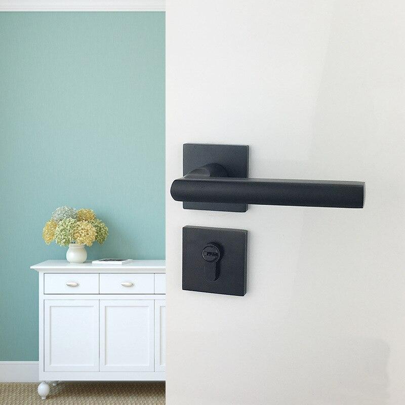 Black Aluminum Partition Lock US Style Indoor Home Solid Wood Door Handle Mute Door Lock 1set-in Door Locks from Home Improvement    2