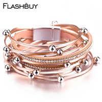 Flashbuy alliage perles strass cuir bracelets pour femme chaîne en métal multi-couches bracelets Bracelet doré bijoux accessoires