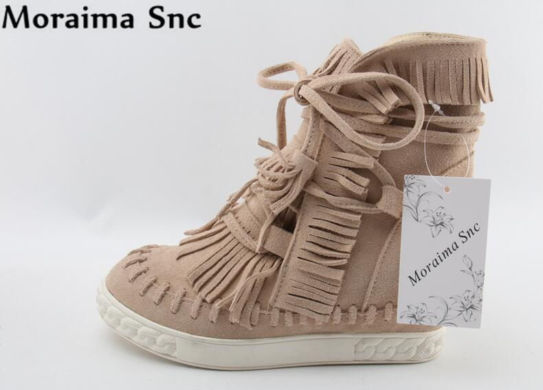 Moraima Snc Newest Spring Summer fashion women boots Round toe slip-on height Increasing Turned-over appliques Ankle lace-up 2017 spring summer newest round toe