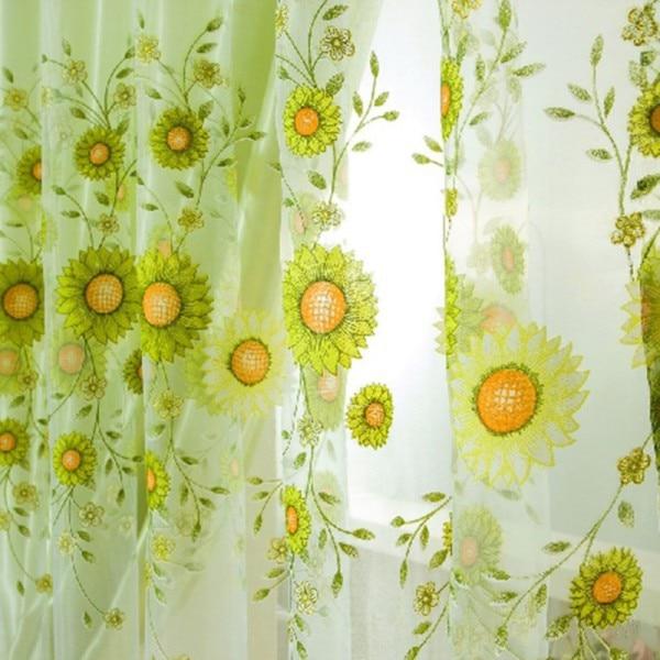 Fashion Window Curtain Flower Print Divider Tulle Voile Drape Panel Sheer Scarf <font><b>Valances</b></font>