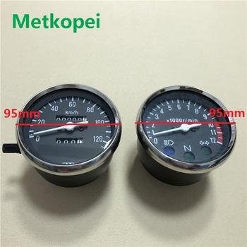 Motocykl GN125 prędkościomierz przebieg obrotomierz dla Suzuki 125cc GN 125 speedo wskaźnik części zamienne części zamienne tanie i dobre opinie Silniki GN125 GN150 Iso9001 9 5cm 8 2cm 285g alloy + copper speedometer odometer tachometer 1 cylinder Metkopei
