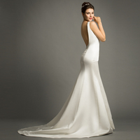 Simple Square Collar Pleated Satin Vestido De Casamento Backless Mermaid Maxi Wedding Dresses Robe De Marriage Bridal Gowns