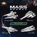 4 pcs Conjunto de Mass Effect SX3 Alliance Fighter Turian Cruzador da Aliança Cruiser SR2 Normandy Modelo DIY 3D Puzzle de Metal Cortado A Laser brinquedos