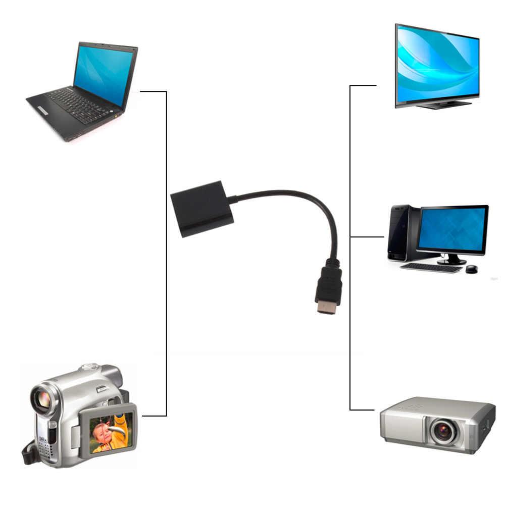 Adaptador de micro hdmi para vga fêmea, conversor de cabo de vídeo para pc, laptop, adaptador digital preto, 1080p