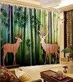 Современный домашний декор занавески с узором Бамбуковые леса олень окна затемненные занавески 3d печатные занавески