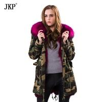 JKP Winter woman army green Large raccoon fur collar hooded coat parkas outwear detachable Raccoon fur lining jacket