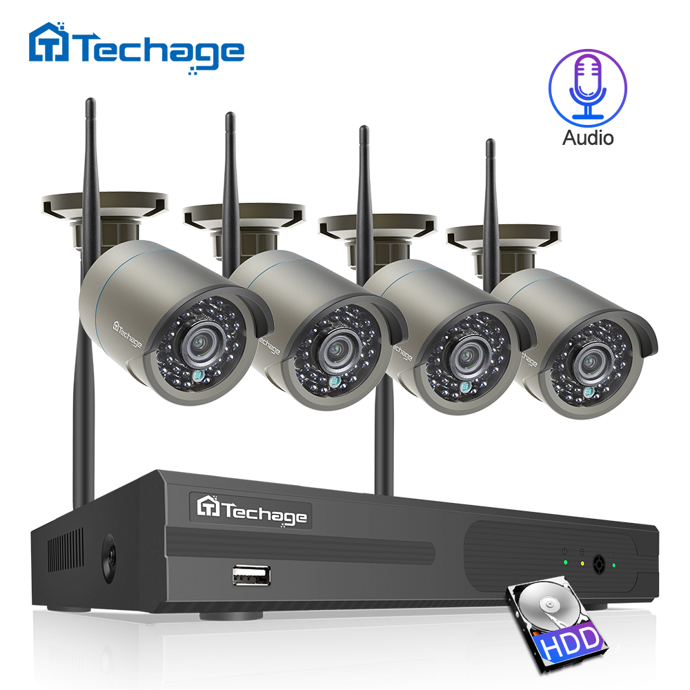 Techage Wireless Security Camera System with Audio 4CH 1080P 2.0MP WiFi Video Surveillance Camera CCTV System Indoor Outdoor Use