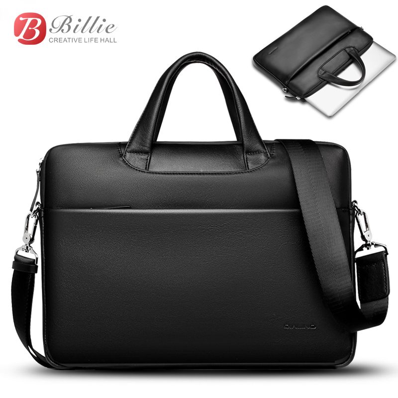 """Image 2 - Laptop bag case For Macbook Asus lenovo 13""""15"""" Deluxe Genuine Men's Briefcase High Quality handbag computer bags Notebook bags-in Laptop Bags & Cases from Computer & Office"""