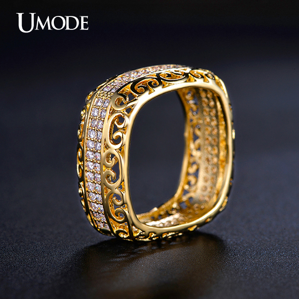 UMODE Unique Square Filigree Wedding Band Ring with Micro 2 Rows