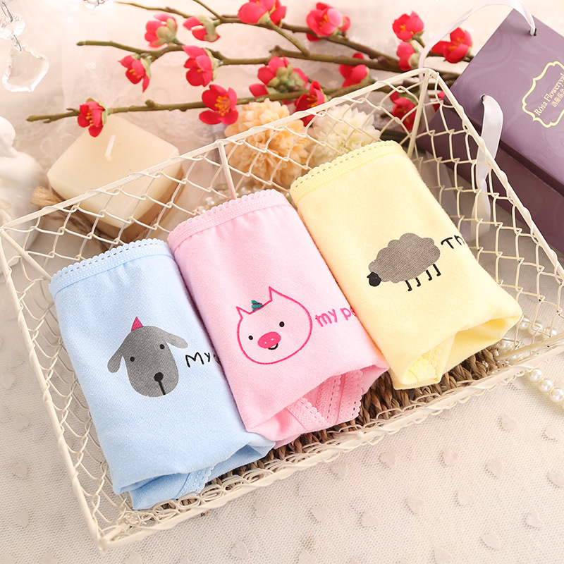 SP&CITY Cartoon Cute Underwear Animal Letter Cartoon Funny   Panties   Cotton Teenage Girl Underwear Girls Underwear Wofee Wholesale