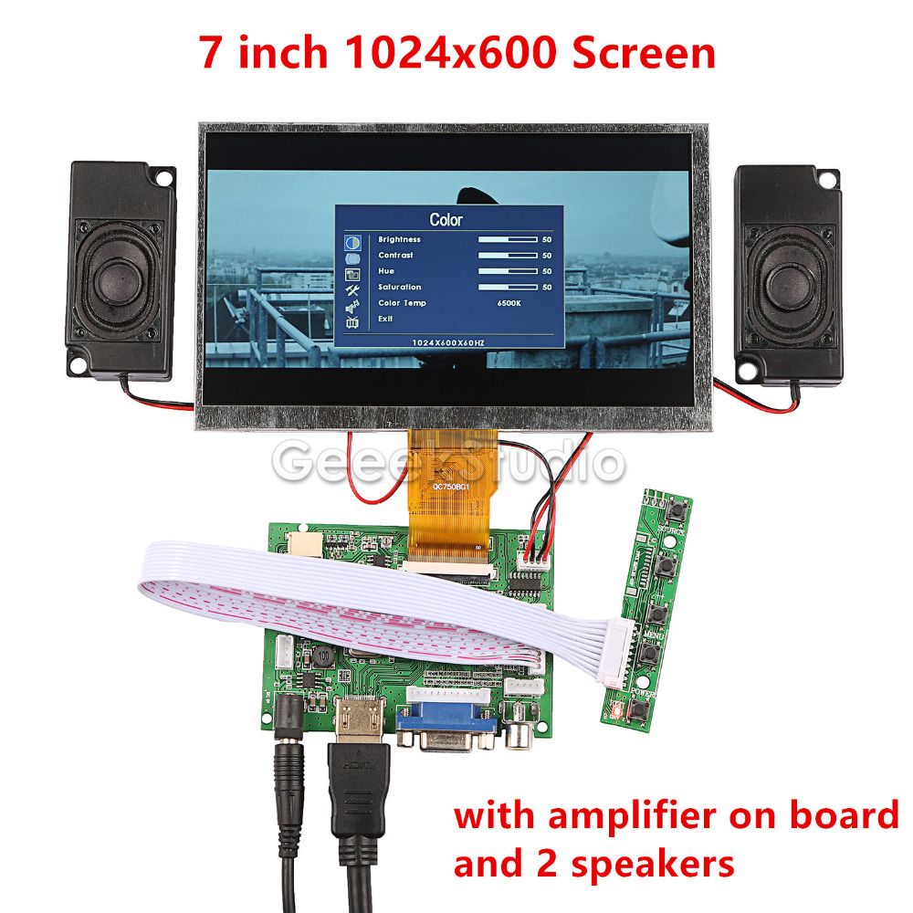 New! <font><b>7</b></font> <font><b>inch</b></font> LCD 1024*600 <font><b>Monitor</b></font> Display Screen Kit with Amplifier and 2 pcs Speakers for Raspberry Pi 4 B All Platform/ PC image