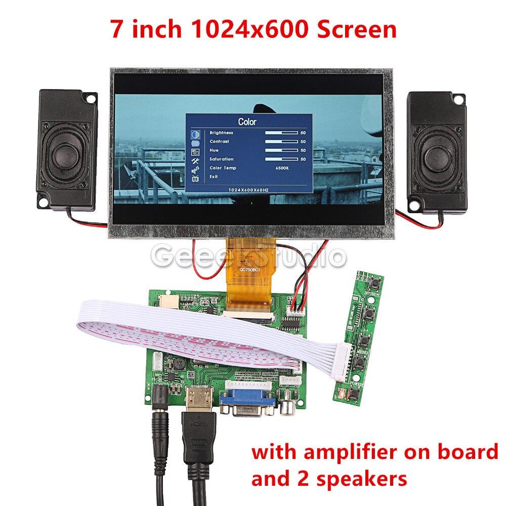 Nouveau! 7 pouces LCD 1024*600 Moniteur Écran D'affichage Kit avec Amplificateur et 2 pièces Haut-parleurs pour Raspberry Pi/PC Windows