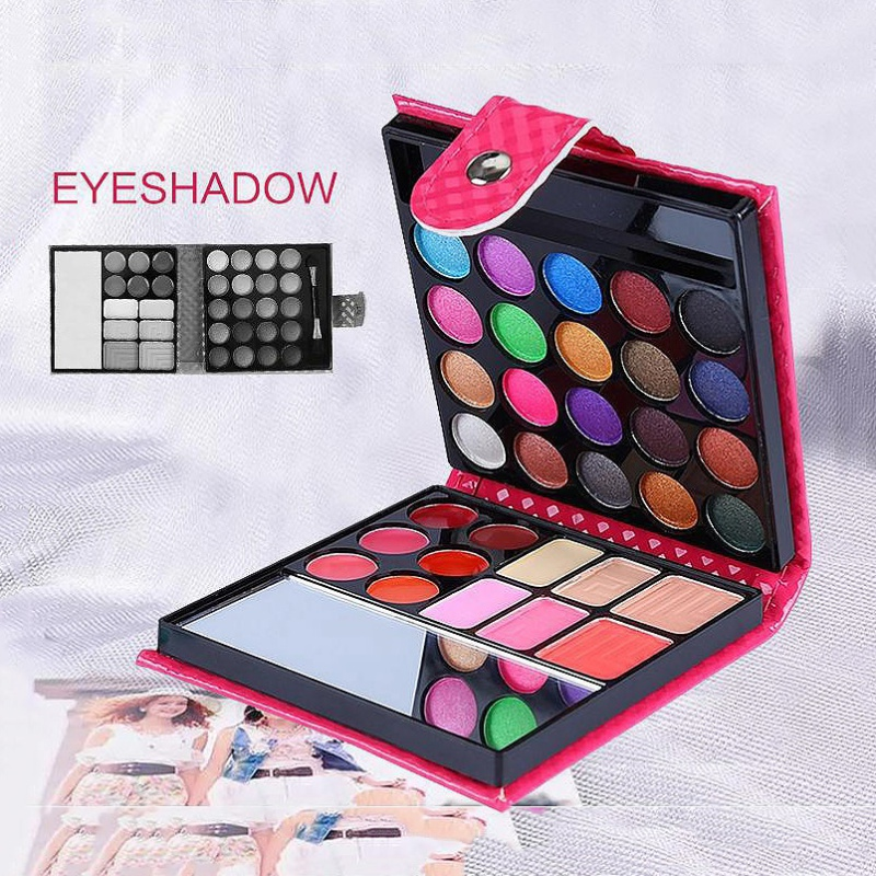 Women Pro 32 Colors Makeup Eyeshadow Palette Fashion Face Eye Lips Make Up Kit With Case Cosmetics New 2018