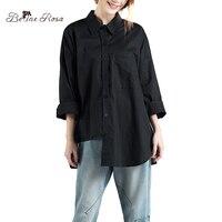 BelineRosa 2017 Women S Blouse Simple Style Casual Irregular Hem European Fashion Black White Pure Color