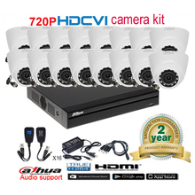 Dahua original 720P DHI-HAC-HDW1000R  night vision CVI Dome camera with H.264 16CH CVI DH-XVR4116HS camera kit