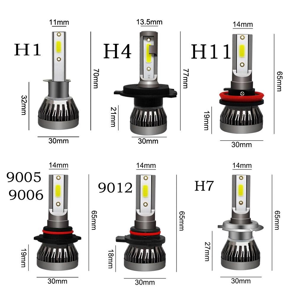 Image 5 - LSlight светодиодный H7 H4 H11 H1 H9 9005 9006 HB2 HB3 HB4 9012 светодиодный шарика фары света автомобиля 12 v/24 v 55 W 6000 k Turbo ампулы авто лампы-in Передние светодиодные фары для авто from Автомобили и мотоциклы