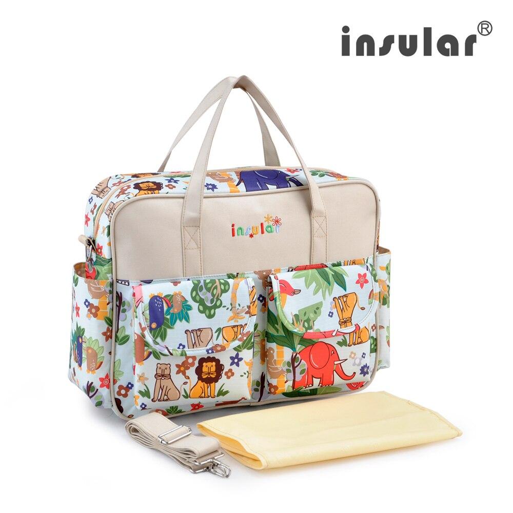 Diaper Bag Fashionable Multifunctional Mummy Bag Wear-resistant Antibacterial Floral Printed Baby Travel Bag Portable Insular