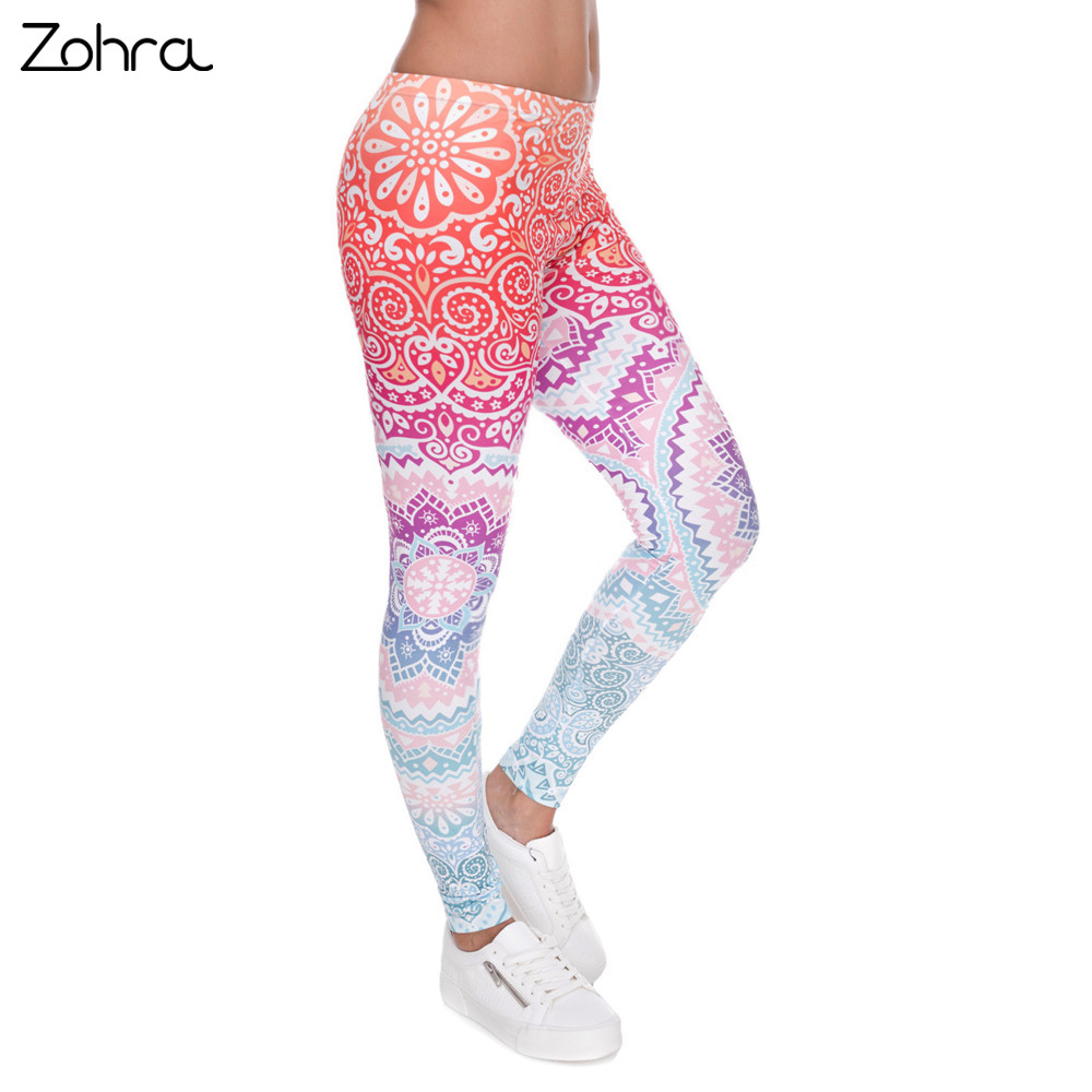 Zohra marcas mujeres Legging moda azteca Ombre impresión leggins Slim alta cintura Leggings Mujer Pantalones
