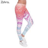 Zohra New Arrival Aztec Round Ombre Printed Womens Sport Leggings Calzas Deportivas Mujer Fitness Casual Punk