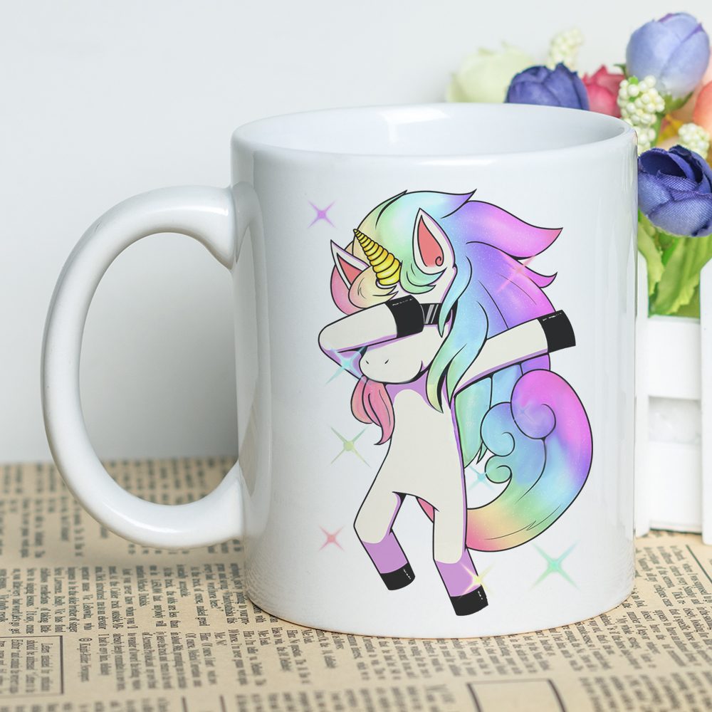Gift for Lovers Mug with Design Cool Unicorns Print Coffee Cup 11oz Ceramic DIY Artwork Printing Mug with Cartoon Unicorn ceramic