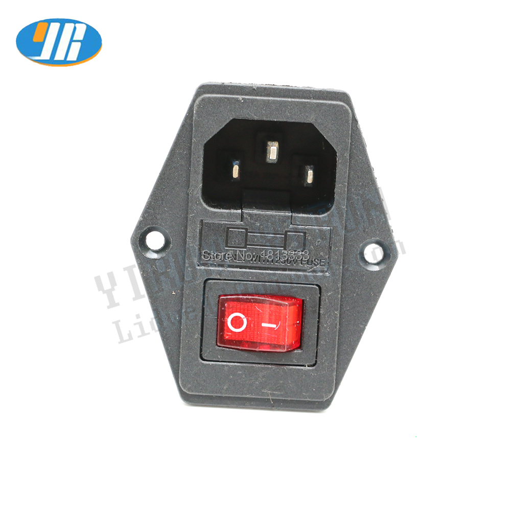 10A 250V Inlet Module Plug Fuse Switch Male Power Socket 4Pin + 3Pin IEC320 C14 Power Switch For Arcade game machine parts