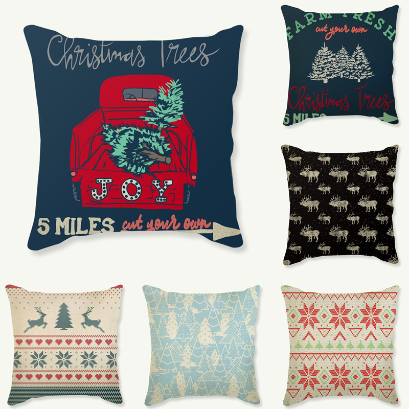 Christmas Xmas Linen Cushion Cover Throw Pillow Case Home: Merry Christmas Home Decor Cushion Cover Christmas Pillow