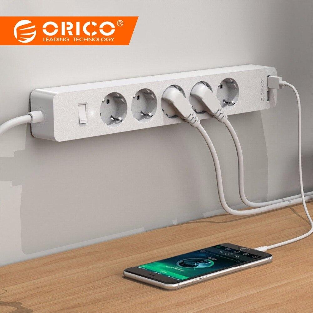 ORICO USB Smart Power tomada Tira Tomada 4000 w com Placa Adesiva 2 AC Outlets 5AC 2 USB Cobrando Portas para Home Office plug